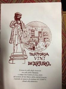menu at Trattoria Vini D'Arturo