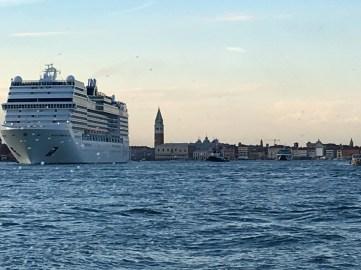 on boat at sea looking at Venice