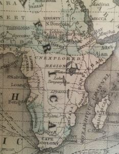 "Detail of central Africa from an 1872 map of the world. Note the ""unexplored region."""