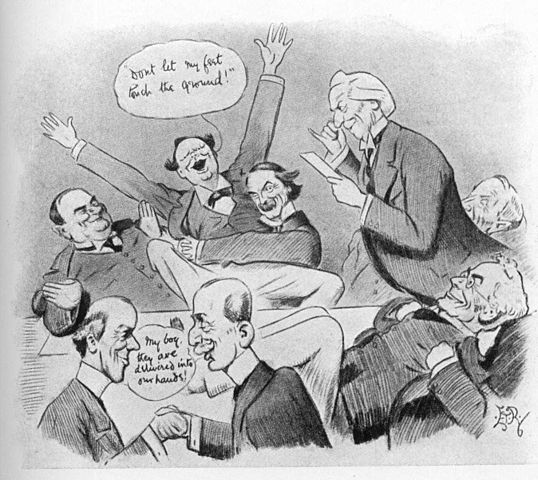 In this political cartoon, the British Cabinet receives the news that the House of Lords has rejected the People's Budget. Prime Minister Asquith is depicted making the announcement. The fellow throwing his arms into the air in glee is Winston Churchill, and the man restraining him is David Lloyd George.