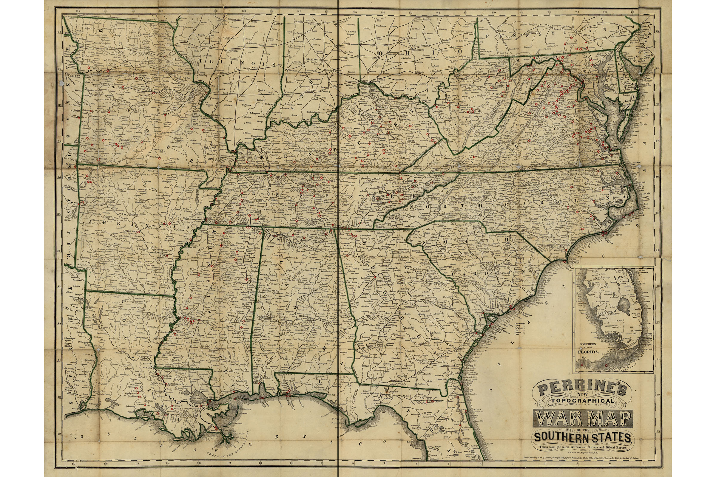 Civil War Map Perrine S Topographical War Map Of The