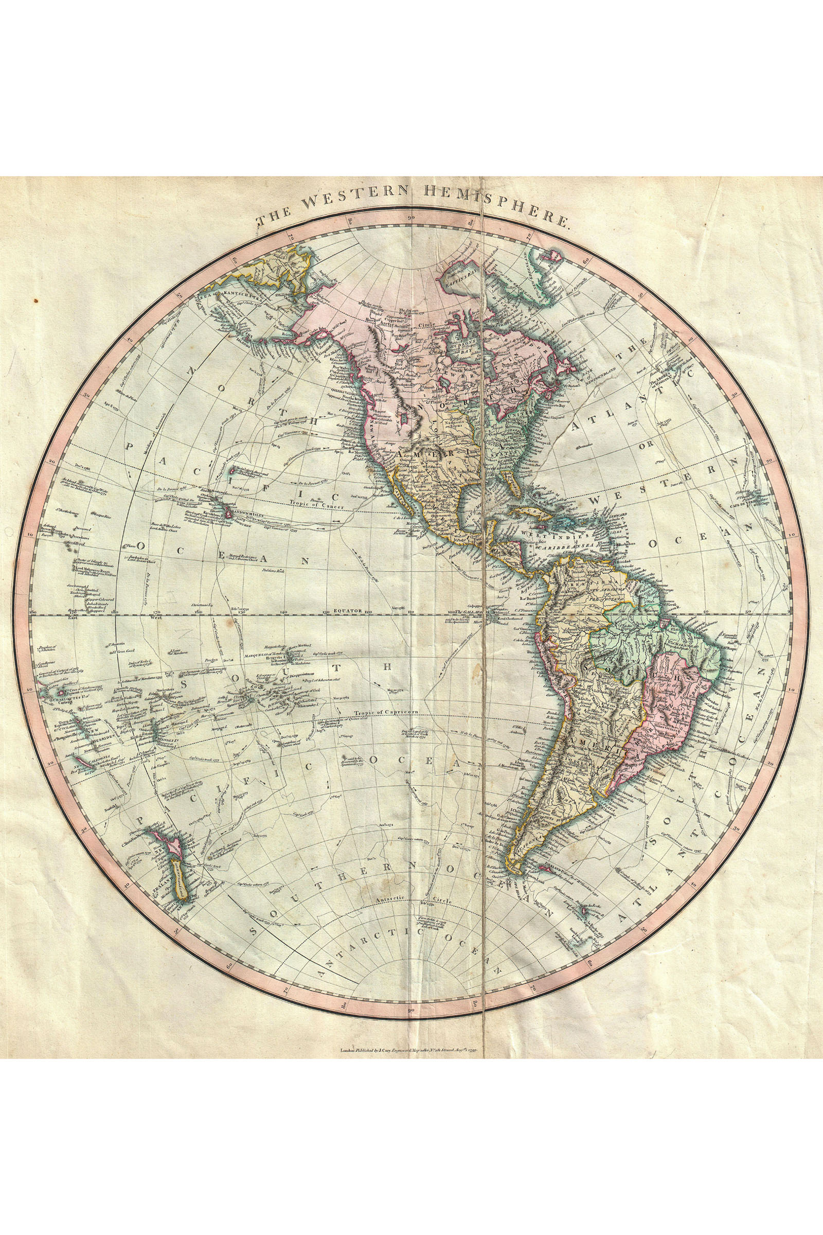 Western Hemisphere Historic Map By Cary