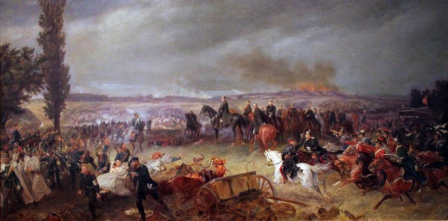The Prussian Leaders The Kaiser, General von Moltke, and Bismark Watch The Battle of Koeniggraetz.