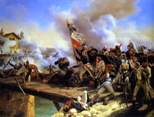 Crossing the Bridge at Arcole. In reality Napoleon was behind his lines. Public domain image from Wikipedia.