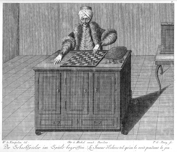 Image of the Mechanical Turk from a copper engraving by Karl Gottlieb von Windisch's (1783). Public Domain - Source