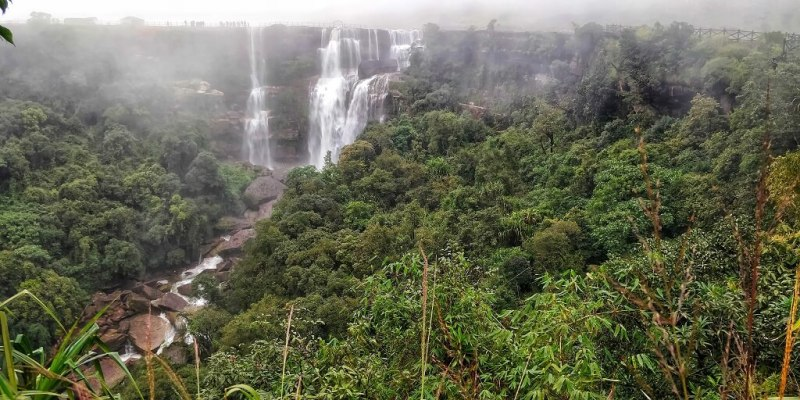 budget travel in india - Front view of the Dainthlen falls