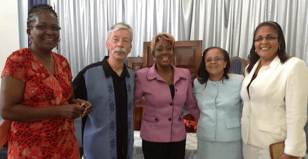 Our Ministry Partners: Left: Dr. Garthlyn Pilgrim, Hospital Christian Fellowship, Pastor Phillip Lee, Nicole Larsen, Christian Radio Isaac 98.1FM, Dr. Judith Henry, Hospital Christian Fellowship, Rev. Michelle Smith, The Power of Change Outreach International (Jamaica)