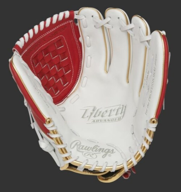 """Rawlings Liberty Advanced 12"""" Fastpitch Infield/Pitcher's Glove - White/Red (RLA120-3S)"""