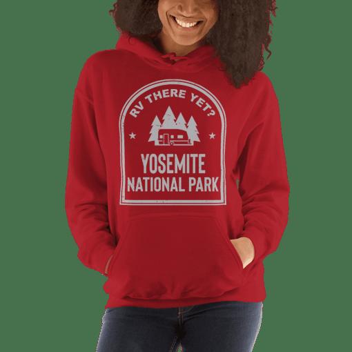 RV There Yet? Yosemite National Park Hooded Sweatshirt (Unisex) Red