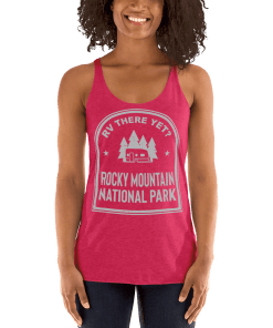 RV There Yet? Rocky Mountain National Park Racerback Tank (Women's) Vintage Shocking Pink
