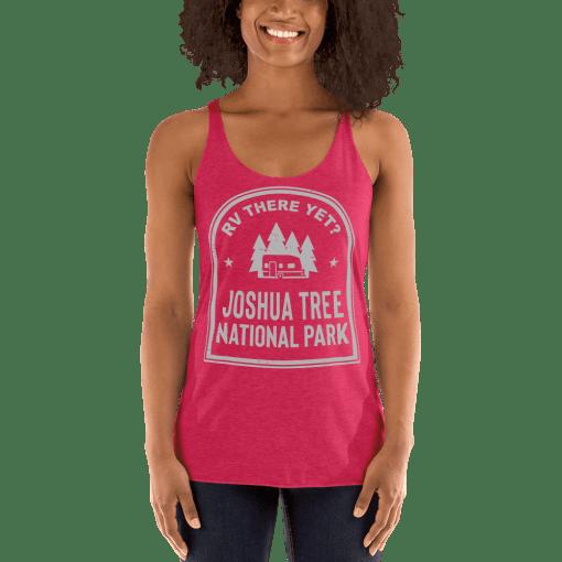 RV There Yet? Joshua Tree National Park Racerback Tank (Women's) Vintage Shocking Pink