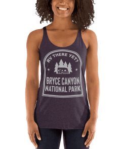 RV There Yet? Bryce Canyon National Park Racerback Tank (Women's) Vintage Purple