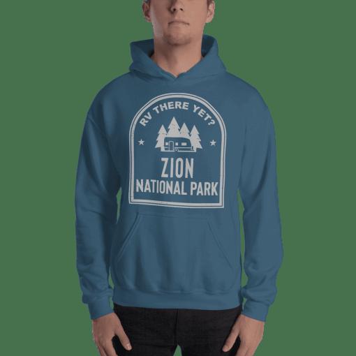 RV There Yet? Zion National Park Hooded Sweatshirt (Unisex) Indigo Blue