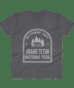 RV There Yet? Grand Teton National Park V-Neck (Men's) Charcoal