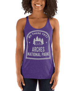RV There Yet? Arches National Park Racerback Tank (Women's) Purple Rush