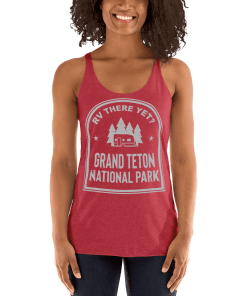 RV There Yet? Grand Teton National Park Racerback Tank (Women's) Vintage Red