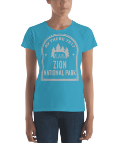 RV There Yet? Zion National Park T-Shirt (Women's) Caribbean Blue
