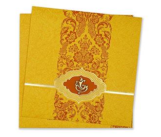 Hindu wedding invitation in vibrant yellow and orange