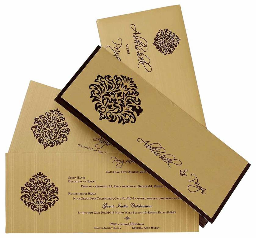 Indian Wedding Card In Brown And Golden With Cutout Design