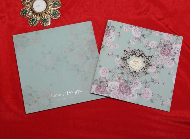 Designer Fl Wedding Invitation Card