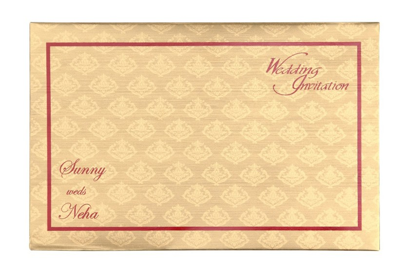 Golden Wedding Invitation Card In Royal Red Colour