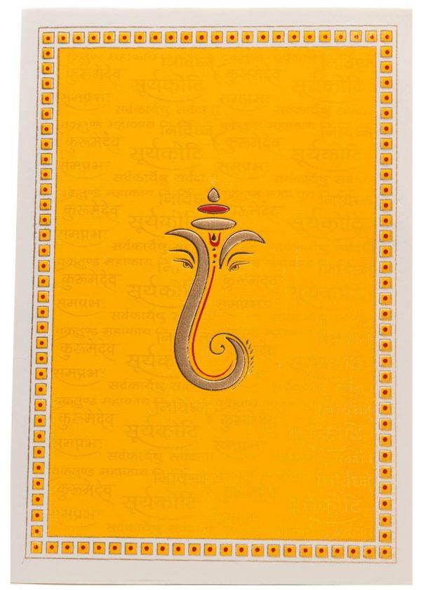 Hindu Wedding Card In Yellow With Ganesha Sanskrit