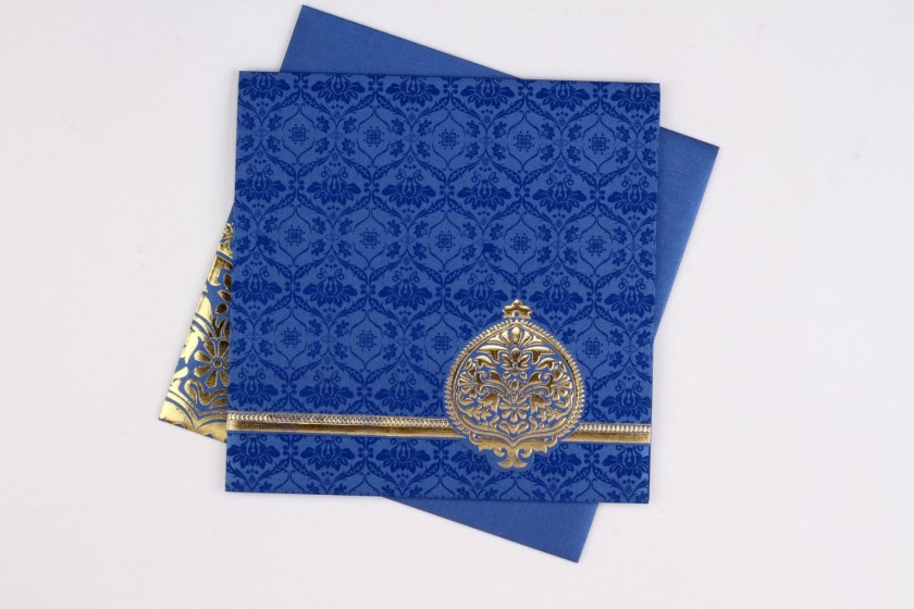 Indian Wedding Invite In Royal Blue With Traditional Motif Design Golden