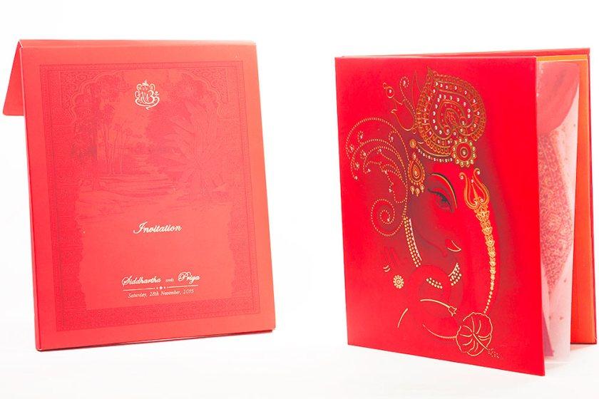 Royal Indian Wedding Invitation With Painted Scenery Ganesha