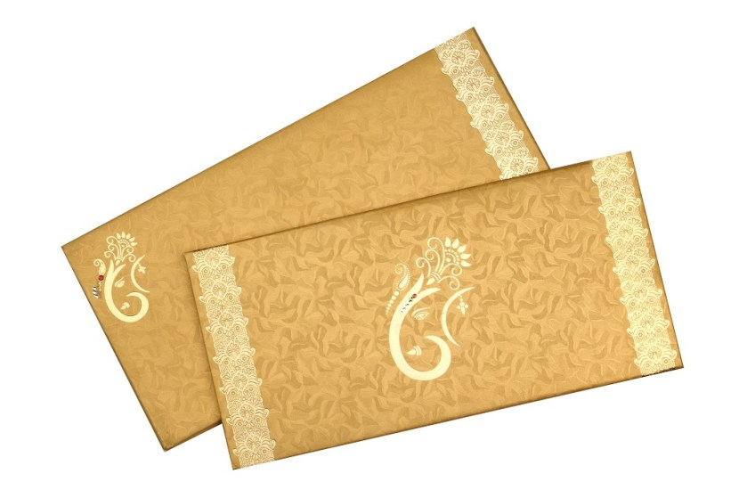 Traditional Wedding Invitation In Vibrant Yellow Golden Card