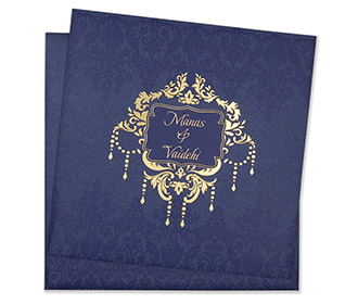 Muslim Wedding Cards Multifaith Designer Card In Royal Blue Colour