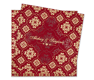 Multifaith Fl Wedding Invitation Card In Red Golden Colours