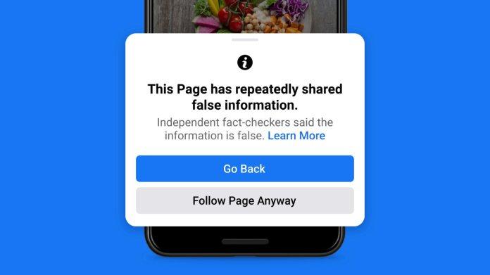 Facebook Misinformation Warning - Credit Facebook