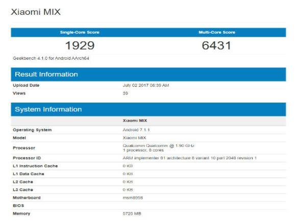 Mi MIX 2 Benchmark Results