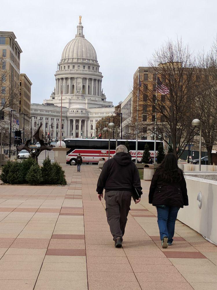 Walking toward the Wisconsin Capital