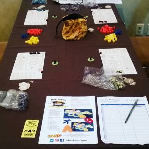 A table set up for demos of Bee Lives at Dreamation