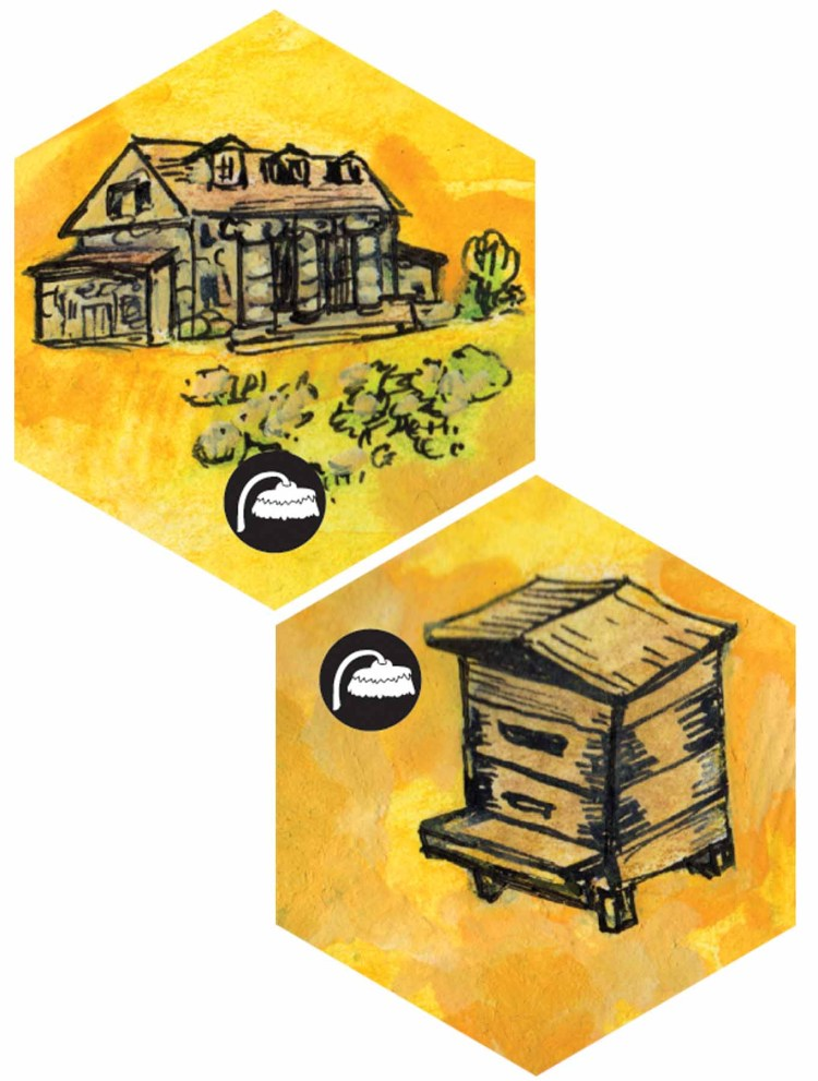 Two map tiles from Bee Lives, one with Bartram's Garden on it and the other with a Langstroth style hive.
