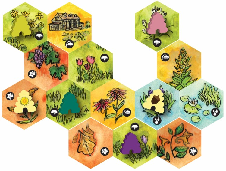 Several map tiles from Bee Lives from each season laid out with different hives positioned on them