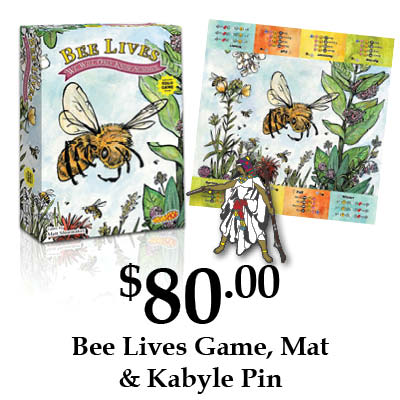 Bee Lives game, playmat, and Kabyle pin