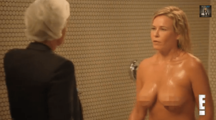 Ellen DeGeneres and Chelsea Handler in a Shower
