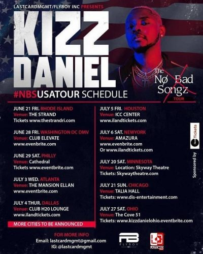 "Kizz Daniel To Embark on USA Leg of ""No Bad Songz"" Tour"