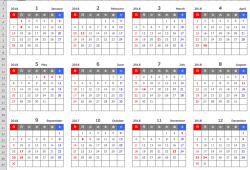 Excel(エクセル)2018年年間カレンダー