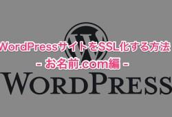 WordPress SSL化 お名前.com編