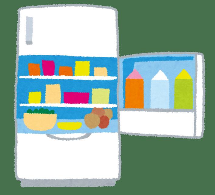 開いている冷蔵庫のイラスト