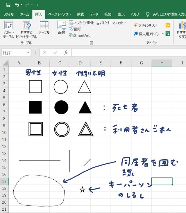 エクセルでジェノグラムを書く方法③