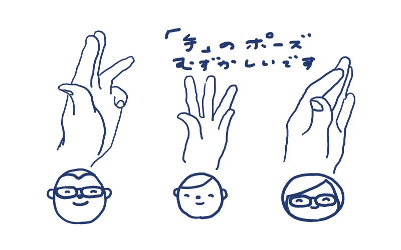 「手」のポーズ難しいです