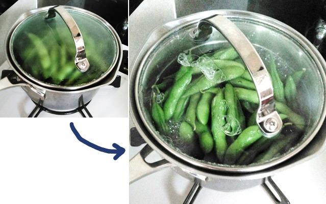枝豆のゆで方②煮立ったら弱火で3~4分加熱する