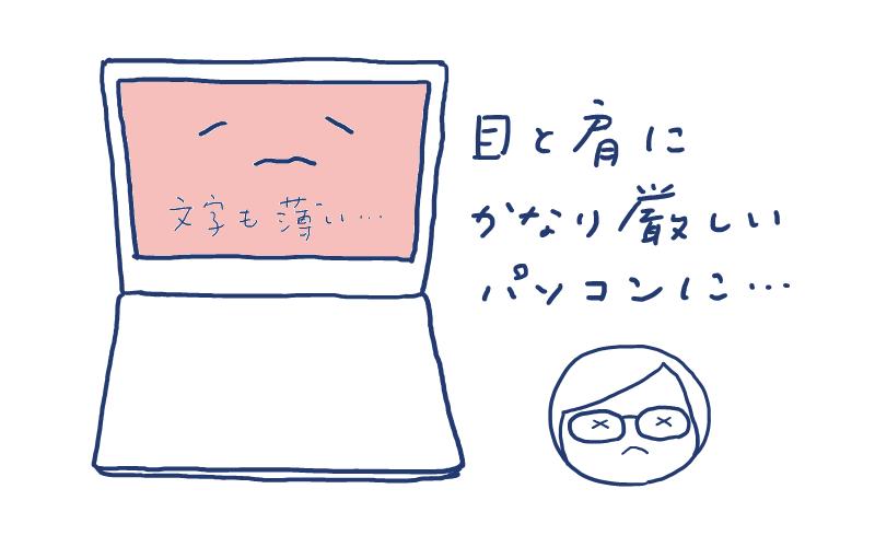 目と肩にかなり厳しいパソコンになりました