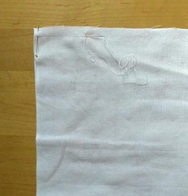 ふきんの仕立ては輪に縫うだけです