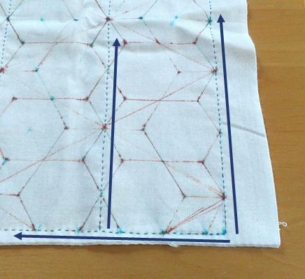 四方の枠とタテの線を刺します