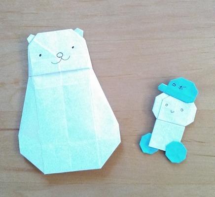 カミキィさんの折り紙で白熊とロボくん